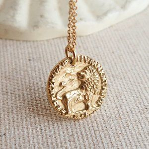 NEW 18K Gold Plated Vintage Lion Coin Necklace